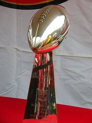 The San Francisco 49ers' Super Bowl XXIX troph...