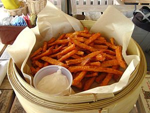 English: Picture of fries made from sweet pota...