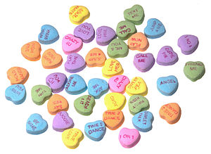 English: An array of Necco Sweethearts (conver...
