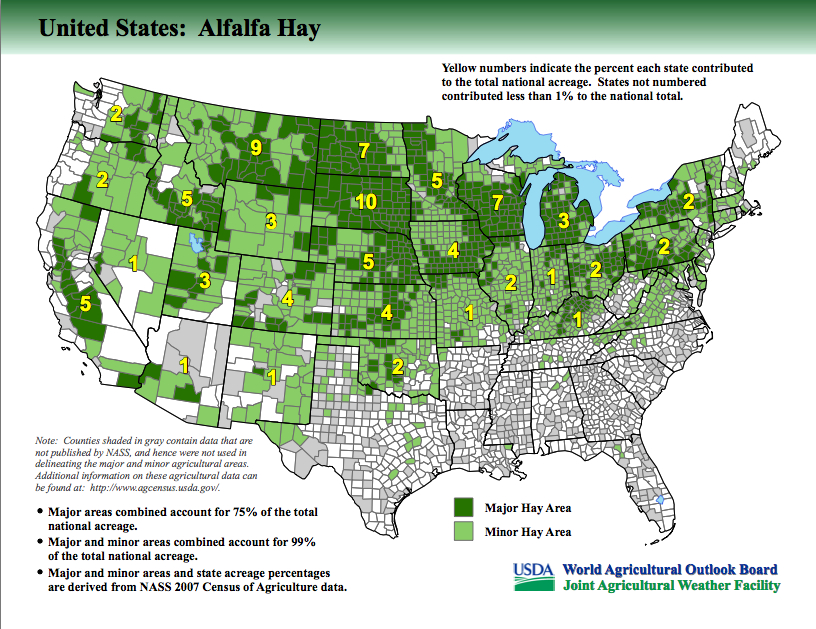 USDA Releases New Maps Identifying Major Crop Producing Areas Alfalfa - Agriculture by state us map