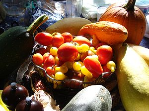 An arrangement of fruits commonly thought of a...