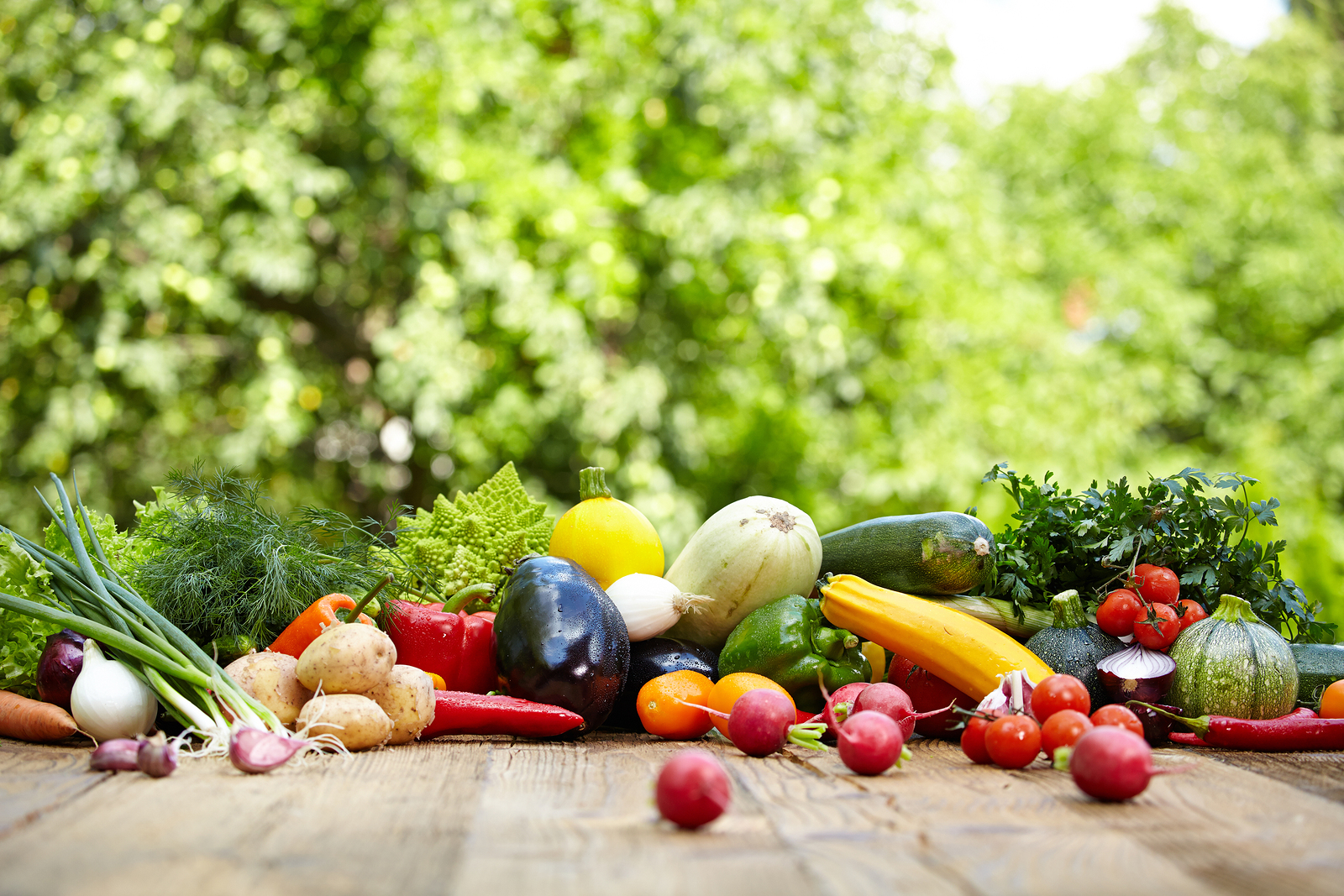 Fresh organic vegetables ane fruits on wood table in the for Fruit and vegetable garden