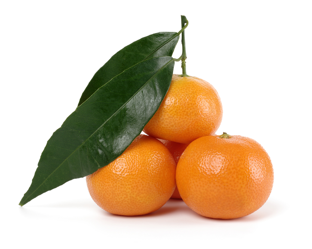 Small heap of ripe mandarins, isolated over white