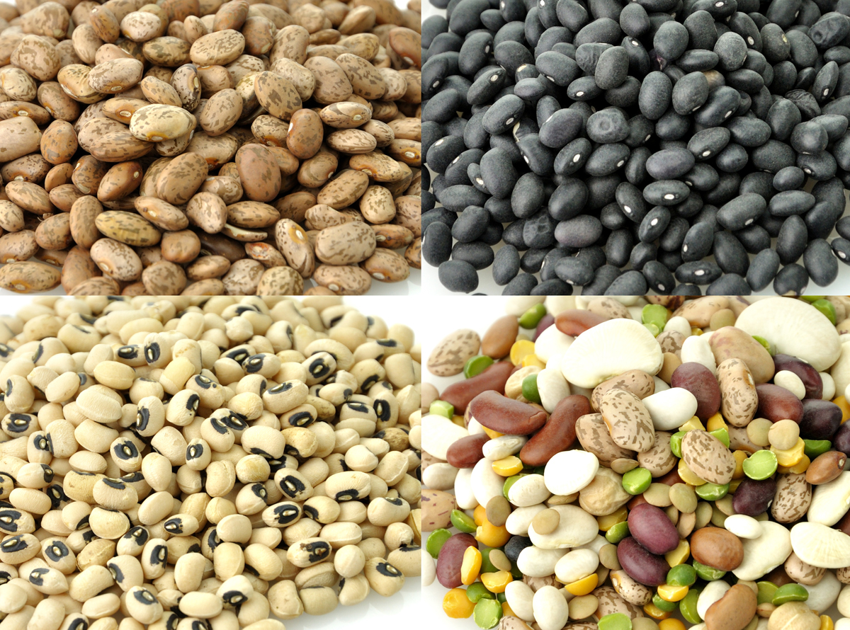 Assortment Of Raw Beans On White Background