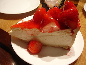 English: A slice of Strawberry Cheesecake from...