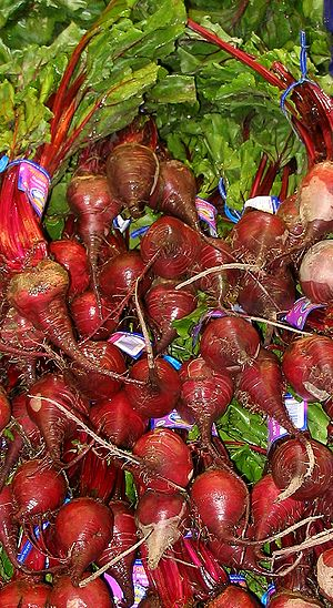 Beetroots at a grocery store