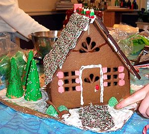 A gingerbread house made in December 2003, pho...