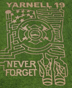 This year's corn maze at Mortimer Family Farms honors the Yarnell 19.