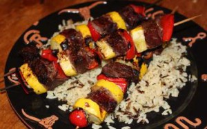 Sirloin Steak cubed and grilled on skewers with  fresh squash and red bell peppers. Photo credit: Arizona Legacy Beef.