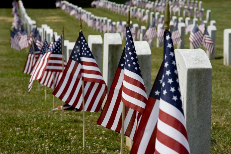 Memorial Day flags and grave stones